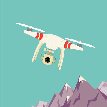 Remote aerial drone with a camera taking photography or video recording . landscape background. Flat design. Vektoros illusztráció