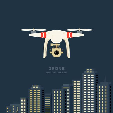Remote aerial drone with a camera taking photography or video recording . cityscape nigthlight background. Flat design.
