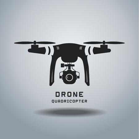 Drohne mit Action-Kamera, Logo Vektor Standard-Bild - 53128661