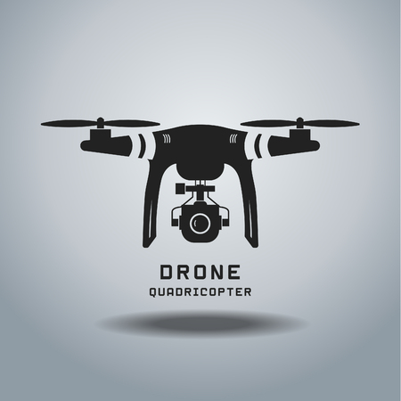 transport icon: drone with action camera, logo vector