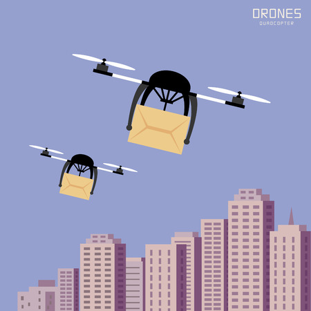 cardboard background: Air drones carrying cardboard, cityscape background Illustration