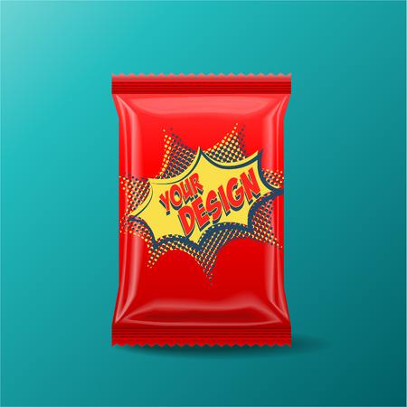 Foil Lebensmittel Snack Red Pack für Biskuit, Wafer, Kekse, Bonbons, Schokoriegel, Schokoriegel, Snacks usw. Kunststoff Pack-Vorlage für Ihr Design und Branding. Standard-Bild - 53167585