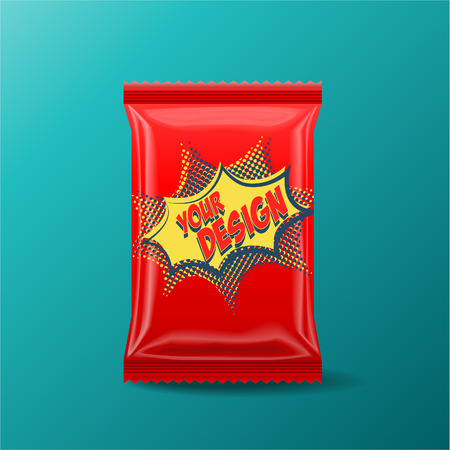 Foil Food Snack Red pack For biscuit, wafer, crackers, sweets, chocolate bar, candy bar, snacks etc. Plastic Pack Template for your design and branding.