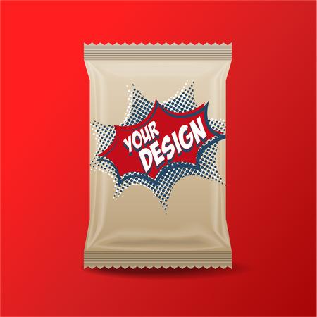 Foil Lebensmittel Snack braun Pack für Biskuit, Wafer, Kekse, Bonbons, Schokoriegel, Schokoriegel, Snacks usw. Kunststoff Pack-Vorlage für Ihr Design und Branding. Standard-Bild - 53167562