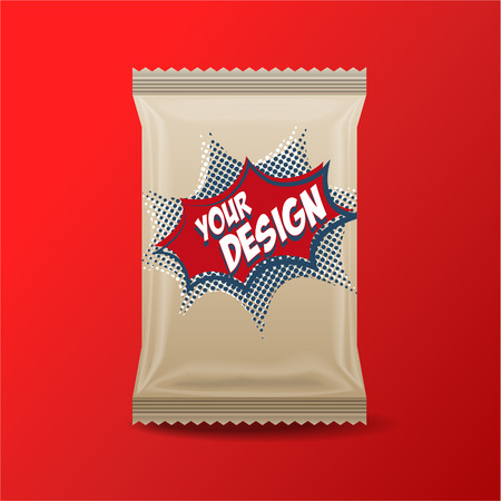 Foil Food Snack brown pack For biscuit, wafer, crackers, sweets, chocolate bar, candy bar, snacks etc. Plastic Pack Template for your design and branding. Vectores