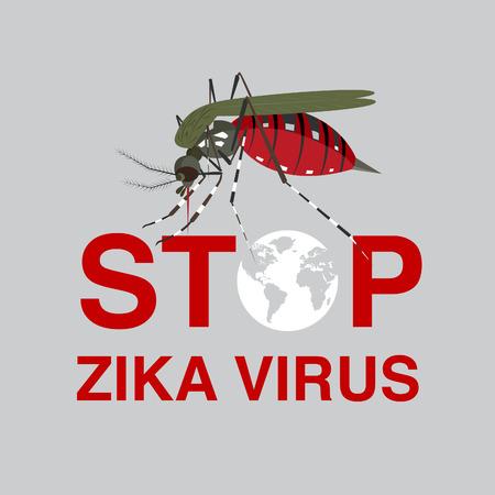 mosquitoe: stop mosquito ,zika virus, flat icon design
