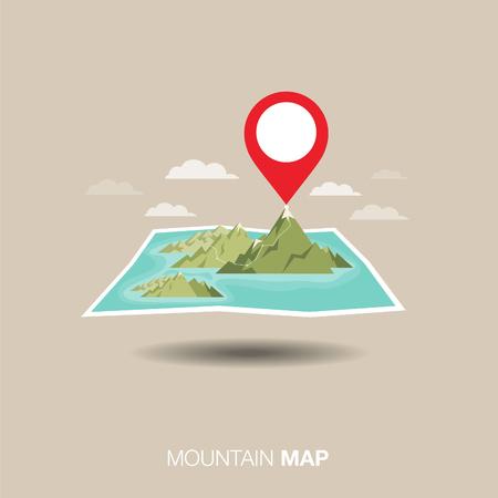 mountain map. pin ,flat design Illustration