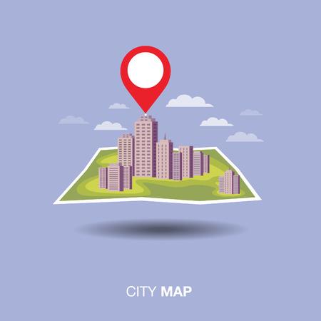 map pin: city map. pin ,flat design Illustration