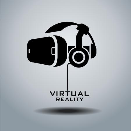 仮想現実ヘッドセット アイコン、フラットなデザイン