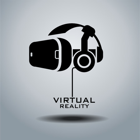 Virtual reality headset icon, flat design Vectores