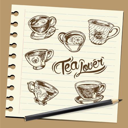 hand draw Illustration tea, sketch on paper Reklamní fotografie - 64571941