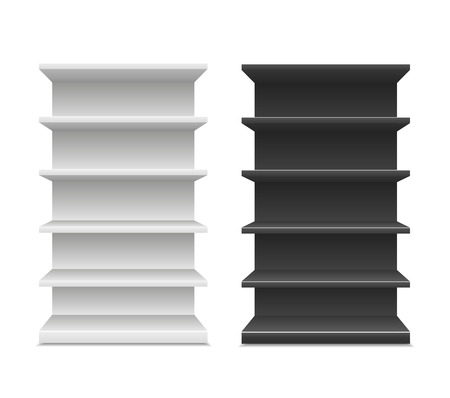 displays: Black & White Blank Empty Showcase Displays With Retail Shelves Front View 3D ,Products On White Background Isolated.