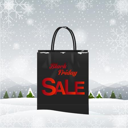 christmas market: shopping bag, Black friday, winter background,Illustration