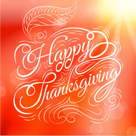 caligraphy: Happy  Thanksgiving, autumn , leaves Background, Illustration Illustration