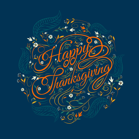 caligraphy: Happy  Thanksgiving,caligraphy font, autumn , leaves Background, Illustration