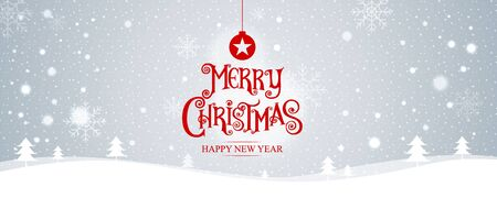 Merry Christmas. happy new year. Vector Illustration. Lettering Design With Stars And Sparkles. landscape background, snow, banner design. Ilustracja