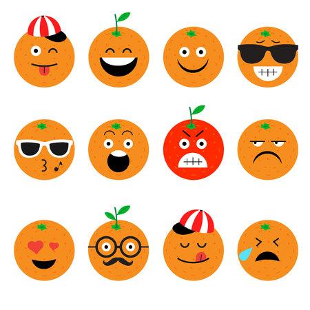 charactor: emojis. orange. fruit. summer. Set of emotional  face on a white background. Flat vector emoticons. Set vector smiley. Characters smiley Illustration
