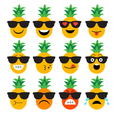 charactor: emojis. pineapple. fruit. summer. Set of emotional  face on a white background. Flat vector emoticons. Set vector smiley. Characters smiley Illustration
