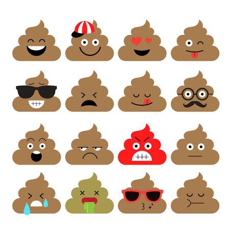 turd: Set of emoji vector illustration.