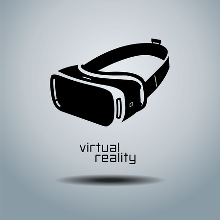 Virtual reality headset icon, flat design, vector, icon, design, black & white, VR