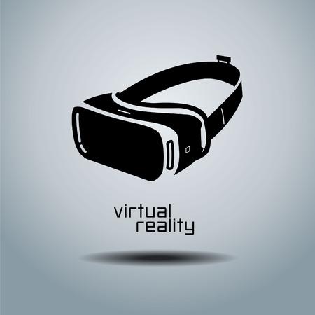 Kopfhörerikone der virtuellen Realität, flaches Design, Vektor, Ikone, Design, Schwarzes u. Weiß, VR Standard-Bild - 73344372