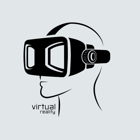 Virtual reality design logo , VR, icon, graphic, vector. Illustration