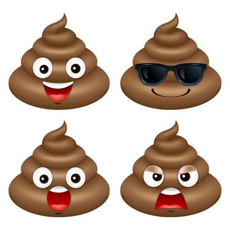 Set von niedlichen Poop, glücklich poop, emoji, emotional, Vektor-Illustration. Standard-Bild - 74424619