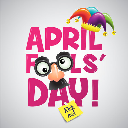 Der erste April, Typografie, Bunte, Vektor-Illustration. Standard-Bild - 74156356