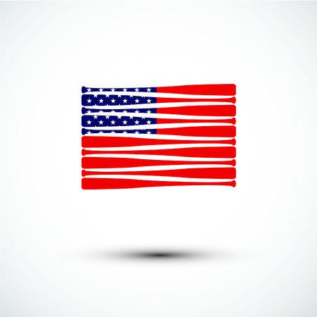 flag: Baseball  logo; America flag; sign & symbol; flat design; vector.