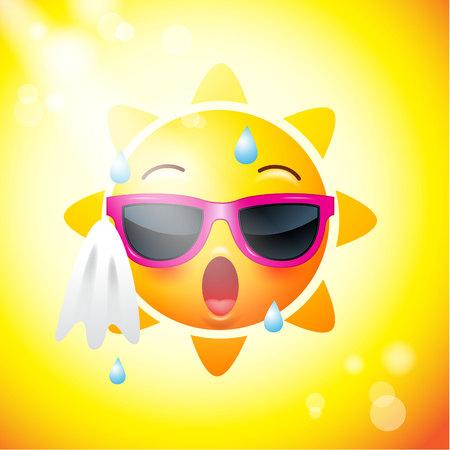 Iconos de la cara del sol o caras amarillas, divertidas en realista. emojis .hot verano. Ilustración del vector