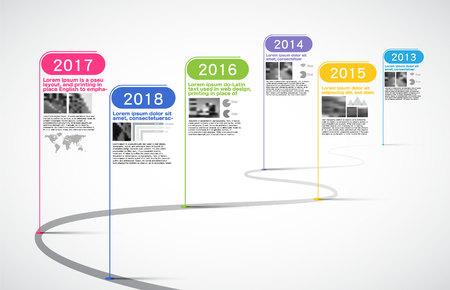 Hitos Empresa, cronograma Infografía, vector, historia; calendario; año; gráfico de la línea de tiempo