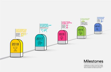 milestones: Milestones Company, Infographic Vector. Illustration