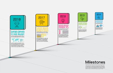 Milestones Company, Infographic Vector. Vecteurs