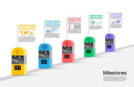 Hitos Empresa, Vector Infográfico.