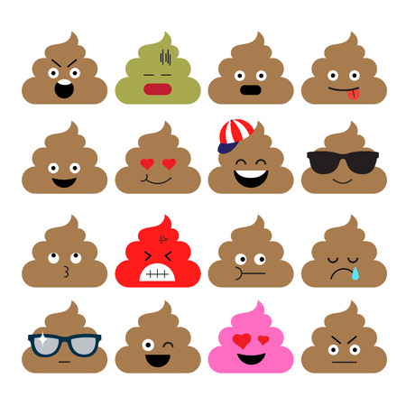 Set of cute poop, happy poop, emoji, emotional, vector illustration.