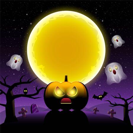 Happy Halloween scary night with pumpkin.