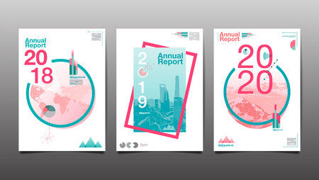 Annual report 2018,2019,2020, template layout design, cover book. vector