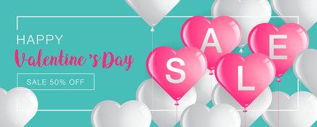 Valentinstagverkauf, Schablonen-Fahne, Herz-Ballone, Vektor-Illustration, abstrakter Hintergrund. Standard-Bild - 92166457