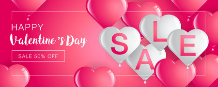 Valentine's day sale,Template Banner,Hearts Balloons,Vector Illustration,Abstract Background. Ilustração