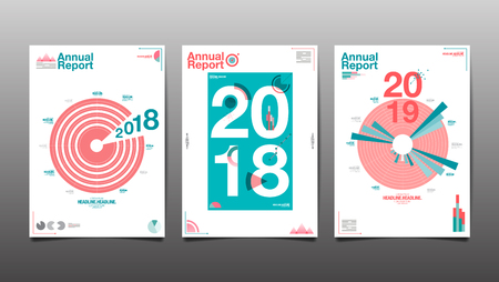 annual report 2018,2019,2020 ,cover brochure design template  , flyer,  flat design, colorful abstract background, vector.