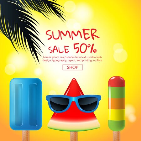 A summer sale , cartoon, ice cream , face, layout design, greeting card, cover book, banner, template design, vector illustration