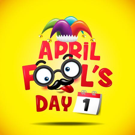 Poisson d'avril, typographie, coloré, illustration vectorielle.