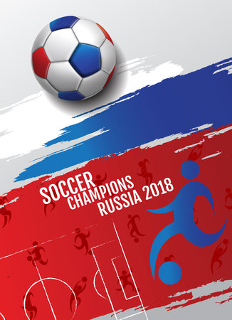 Soccer championship cup background Poser Design football, 2018 Russia. Vettoriali