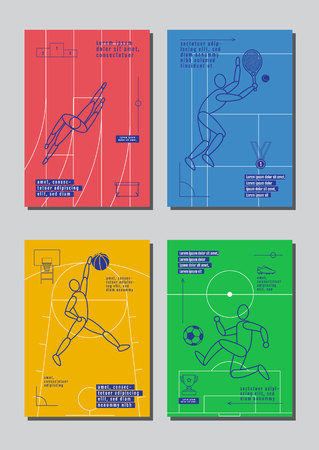 Graphic design sport concept. Sports equipment background. Vector Illustration. Stock Illustratie