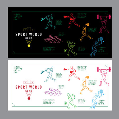 Graphic design sport concept. Sports equipment background. Vector Illustration.