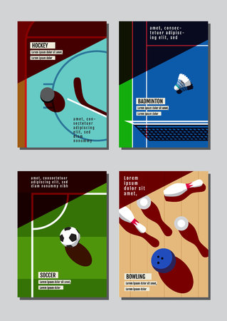 Graphic design sport concept. Sports equipment background. Vector Illustration. Ilustrace