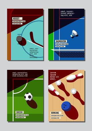 Graphic design sport concept. Sports equipment background. Vector Illustration. Illustration