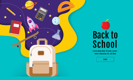 back to school sale banner, poster, flat design colorful, vector
