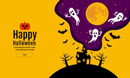 Happy Halloween template Vector illustration. Vetores