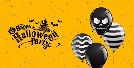 Happy Halloween Party,calligraphy,Banner,Ghost, Scary,spooky,air balloons,template illustration.